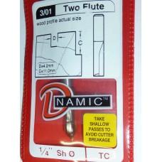 "Carbide Tip Slot Drill - Straight 2 Flute 4mm Dia 1/4"" Shank"