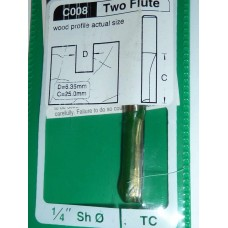 """Carbide Tip Cutter - 1/4"""" Dia x 1/4"""" Shank, 2 Flute"""